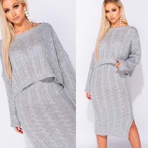 Zella Gray Cable Knit Top & Midi Skirt Set